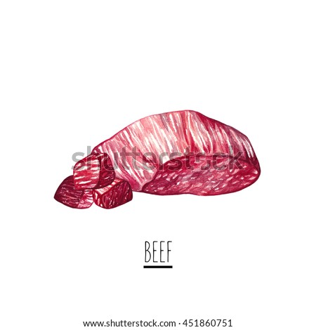 Hand drawn watercolor beef illustration. Cut of beef steak isolated on white background. Watercolor beef isolated on white background.