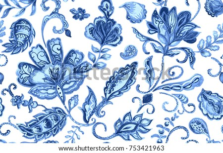 Hand drawn watercolor blue paisley seamless pattern for design. Water color flores elegant pattern decorate ceramic tile, porcelain, wallpaper, fabric. Indian, asian tradition culture. Isolated