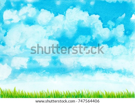 hand drawn watercolor blue sky with white clouds and green  grass illustration, natural paint background .