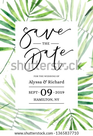 Hand drawn watercolor botanical frame with green leaves, branches and herbs. Floral Design elements for wedding invitations, save the date, greeting cards. Modern brush calligraphy.