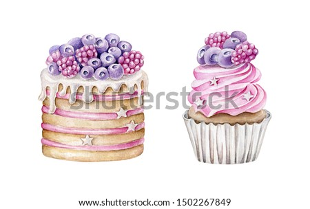 Hand drawn watercolor cake and cupcake decorated with berries,Violet accent