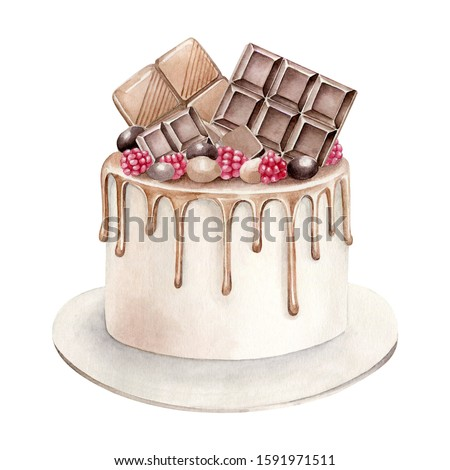Hand drawn watercolor chocolate cake isolated on white background