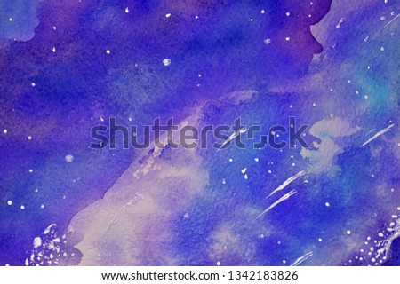 Hand drawn watercolor cosmos with stars and comets. Cosmic background. Cosmic texture. Blue and violet.