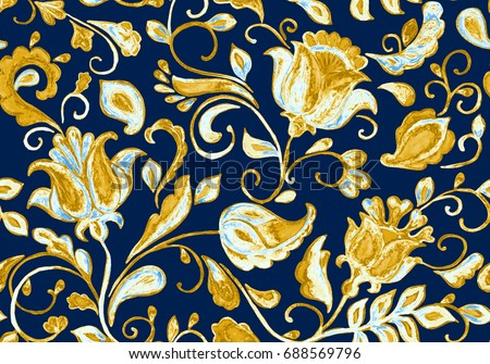 Hand drawn watercolor floral flower seamless pattern (tiling). Colorful seamless pattern with grunge beige gold abstract  whimsical tulips, paisley, leaves on dark  blue background. For print design.