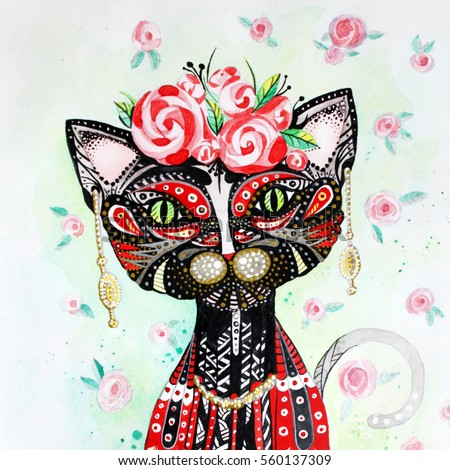 Hand drawn watercolor Frida Kahlo stylised portrait. Humanized cat illustration with pattern roses background. A cat with a human body. illustration for greeting card, poster, or print on clothes.