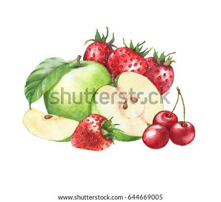 Hand-drawn watercolor fruits clip art. Isolated illustration of the green apples, cherries and red juicy strawberries on the white background. Food drawing for package, poster, banner, advertisement.