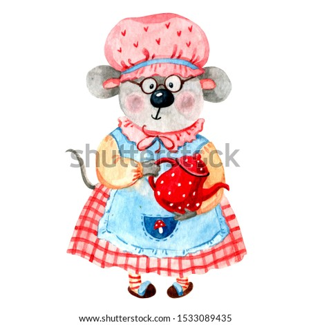 Hand drawn watercolor Granny-mouse with tea pot