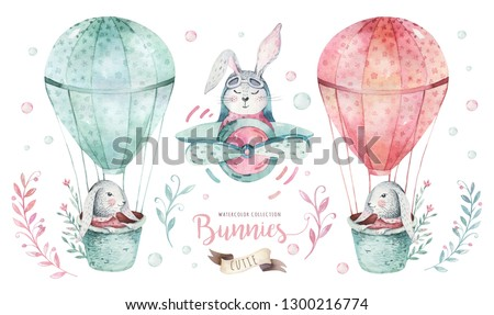 Hand drawn watercolor happy easter set with bunnies design. Rabbit bohemian style, isolated boho illustration on white. Cute baby bunny rabbit illustration for design
