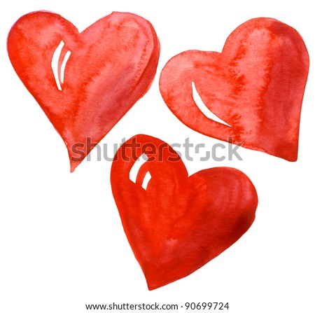 Hand drawn watercolor hearts set isolated on a white background