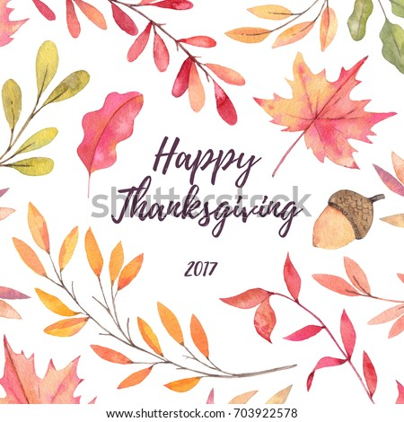 Hand drawn watercolor illustration. Background with Fall leaves. Happy Thanksgiving 2017! Pattern with Forest design elements. Perfect for invitations, greeting cards, blogs, prints and more