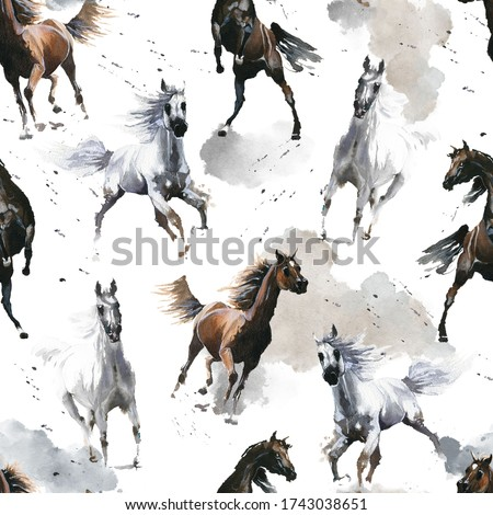Hand drawn watercolor illustration. Cute cartoon. Seamless pattern. Horses white and dark brown. Mustang wild Arabian.  White background. Pastel color. For cloth, linen and other texture. Foto stock ©