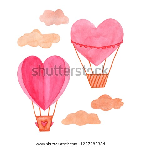 Hand drawn watercolor illustration, hot air balloon in the sky. Valentines day, aquarelle illustration. Isolated objects perfect for Valentine's day card or romantic post cards. Design heart elements. #1257285334