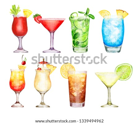 Hand-drawn watercolor illustration of cocktails blue lagoon, Pina colada, long island ice tea, daiquiri, sex on the beach, tequila sunrise, mojito, blood Mary, strawberry margarita isolated on white