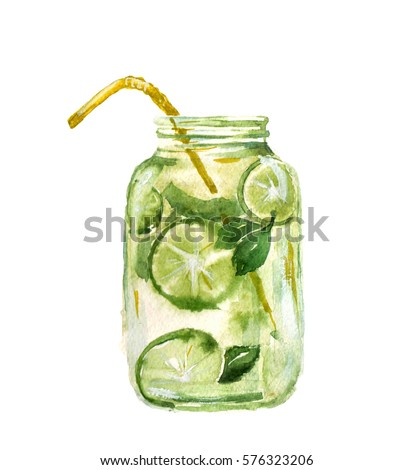 Hand drawn watercolor illustration of summer fresh cocktail mohito. Glass transparent vintage doodle mason jar Isolated on the white background.  Design for pub menu, beer house, brewery poster, label