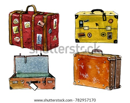 Hand drawn watercolor illustration set of colorful cartoon suitcases