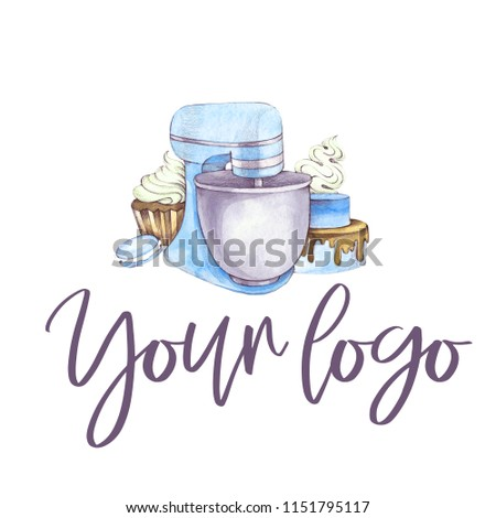 Hand drawn watercolor logo with mixer on white background.
