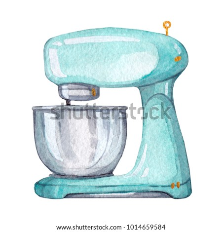 Hand drawn watercolor mint mixer on white background. Kitchen element