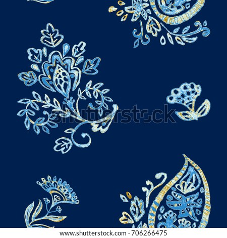 Shutterstock Hand drawn watercolor navy blue paisley seamless pattern for design. Beige flores elegant pattern for decorate ceramic tile, porcelain, wallpaper, fabric. Indian, asian tradition culture.