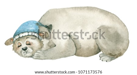Hand drawn watercolor of sleeping polar bear in hat. Isolated in white background. #1071173576