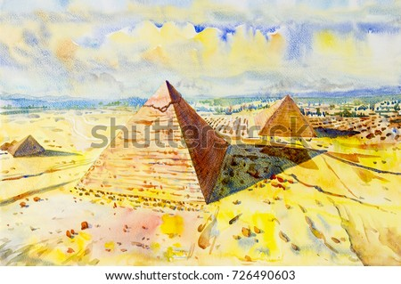Hand drawn watercolor painting landscape.  The Great pyramid with desert in Giza, Egypt,  Illustration art,  top view, sky and cloud, background on paper, Travel landmark of the world.