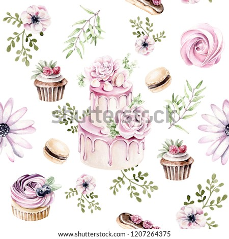 Hand drawn watercolor pattern of sweets:cake, eclair, marshmallow, cupcake, macaroon with floral elements