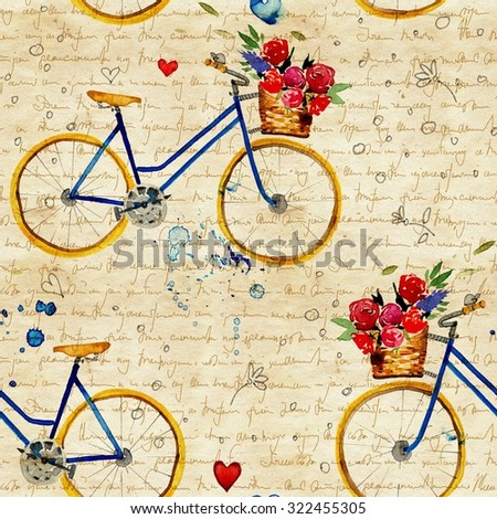 Hand drawn watercolor pattern with bike in vintage style. watercolor retro bike seamless pattern. Watercolor pattern with bicycles.