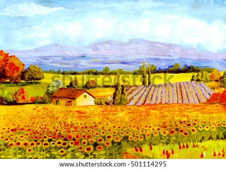 hand drawn watercolor rural landscape, clear summer day away mountains fields and trees, rural small house and a large field of sunflowers. art paintings