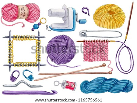 Hand-drawn watercolor set of knittinng tools isolated on white background