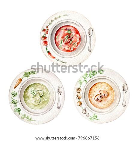 Hand drawn watercolor  set of soups: vegetable soup, tomato soup,  mushroom soup
