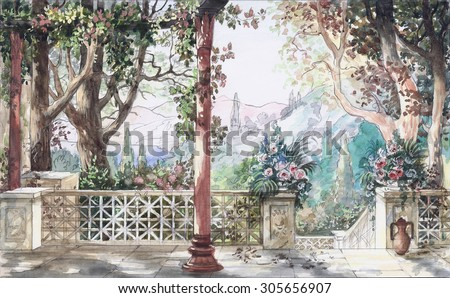 Hand drawn watercolor sketch with landscape and flowers. The view from the terrace on garden. View from the balcony on the the landscape.
