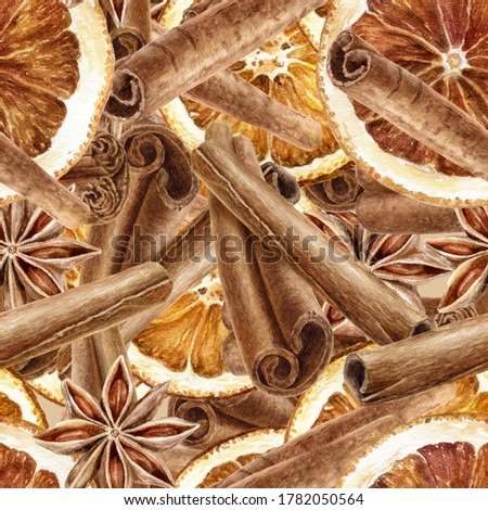 Hand drawn watercolor spice cinnamon anise dried orange seamless pattern.