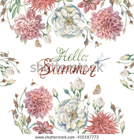 Hand drawn watercolor summer card with white roses colorful chrysanthemums and pink peonies isolated on white background. Hello Summer #410187772