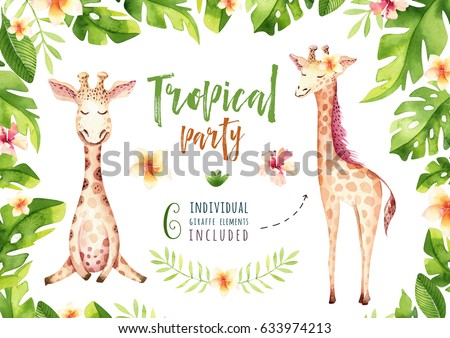 Hand drawn watercolor tropical plants set and giraffe. Exotic palm leaves, jungle tree, brazil tropic botany elements and monkeys. Perfect for fabric design. Aloha collection.