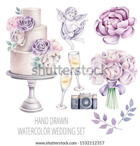 Hand drawn watercolor wedding set:wedding cake, glass of champagne, angel, camera, peony, wedding bouquet.Romantic concept, violet accent.Can used for wedding invitations and design