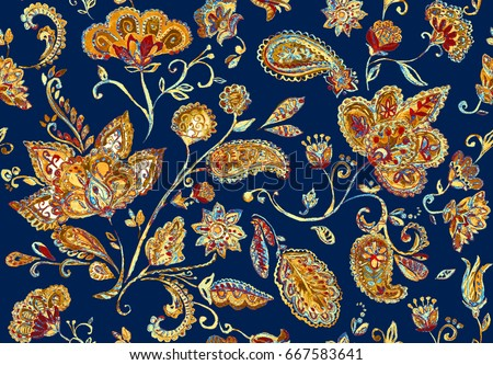 Hand drawn watercolor whimsical flower seamless pattern (tiling). Colorful seamless pattern with flowers, paisley, leaves. Beige dark blue background. Perfect for textile, cover design, print, border.