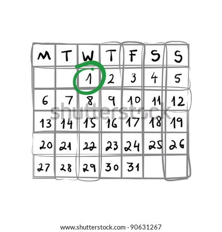 Hand Drawn Weekly Calendar - Bitmap Illustration