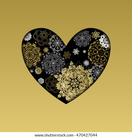 Hand drawn winter heart design. Gold and white snowflakes and stars and black background and golden frame. Valentines day love card template. illustration. #470427044
