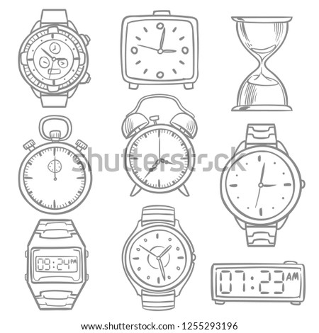 Hand drawn wristwatch, doodle sketch watches, alarm clocks and timepiece set