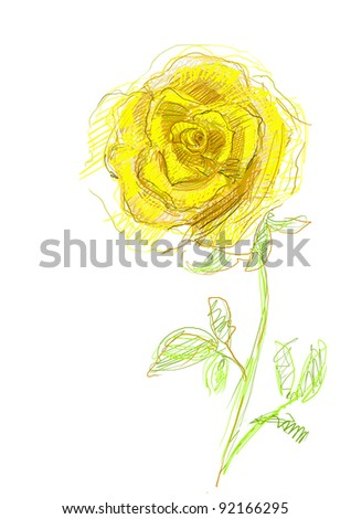 hand drawn yellow rose - stock photo