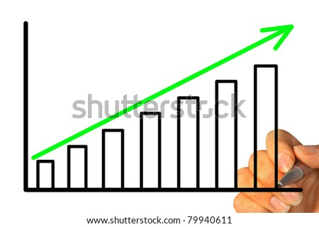 hand draws a graph isolated on a white background