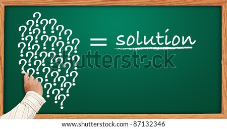 hand draws The question is solution on blackboard