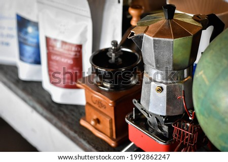 hand drip coffee set in the coffee shop