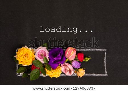 Hand-drown loading bar with flowers #1294068937