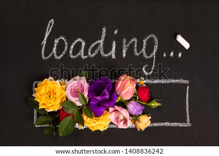 Hand-drown loading bar with flowers #1408836242