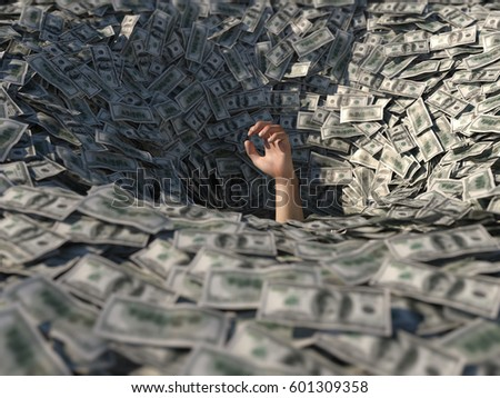 hand drowning in money, 3d illustration  Foto stock ©