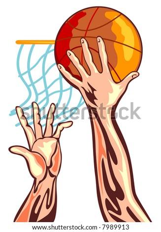basketball hoop. dunking a asketball hoop