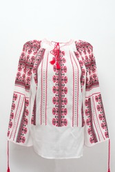 hand embroidered traditional Romanian peasant blouse part of the folk costume