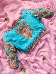 Hand embroidery thread work Blouses for women on saree