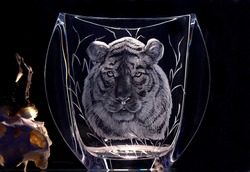 Hand engraved vase with a tiger motif, copper wheel engraving