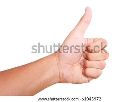 hand expressing positivity on white background. thumbs up